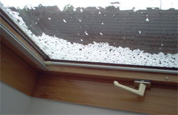 hail on the window