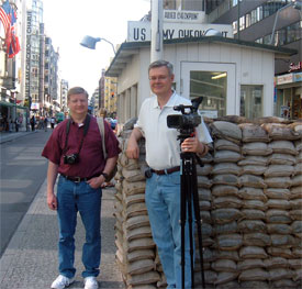 Peter Eddington and Clay Thornton at Checkpoint Charlie in Berlin