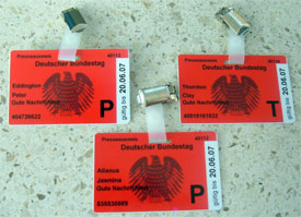 press passes for Bundestag