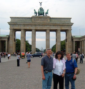Clay Thornton, Jesmina Allaoua and Peter Eddington at Brandenburg gate