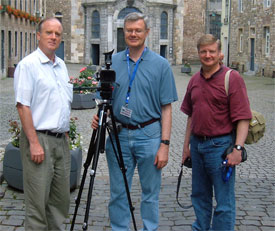 Paul Kieffer, Clay Thornton and Peter Eddington in front of Aachen cathedral entrance