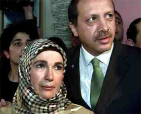 Recep Erdogan and his wife
