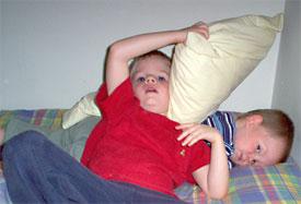 Sean and Adrian wrestling