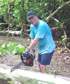 Paul Kieffer with chain saw