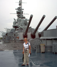 Brigitte on battleship Alabama