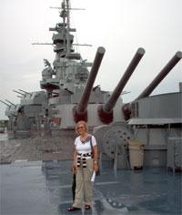 Brigitte on battleship Alabama